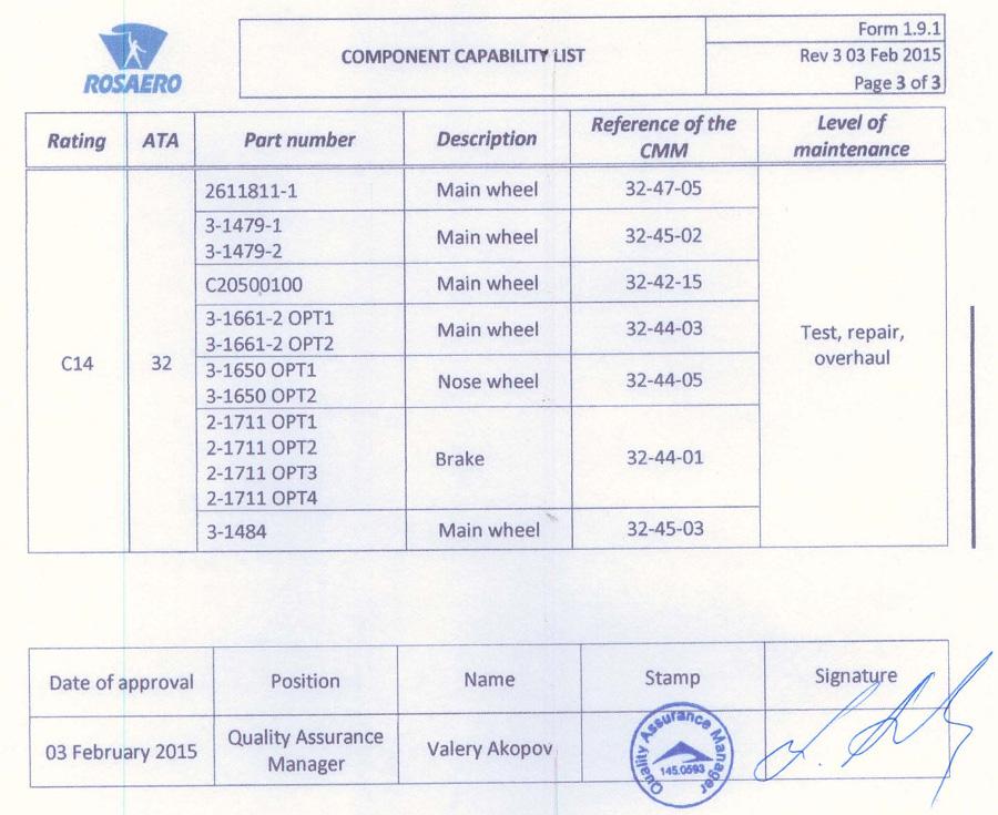 24.02.2015 г. ЗАО «РосАэро» получило подтверждение на право выполнения всего перечня работ по колёсам и тормозам отечественного воздушного судна Sukhoi Superjet 100